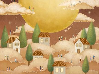 Mid Autumn Festival illustration design autumn festival poster design lantern moon mid-autumn festival house cover festival festive full moon moonlight illustration