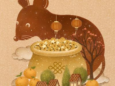 Lunar New Year 2020 festive festival art illustration design drawing good luck lantern prosperous illustrations artwork illustration new year