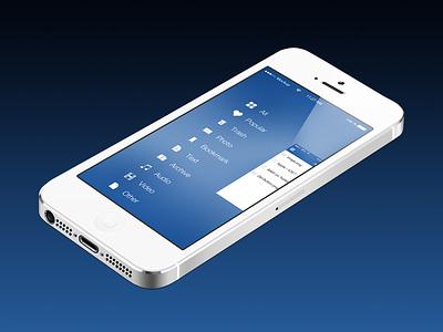 Cloudie's Navigation Menu cloudie ios 7 flat design ux design navigation menu