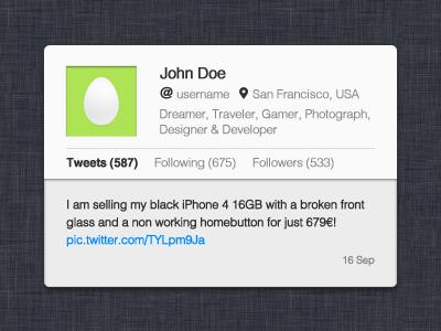 Twitter Profile Widget ui psd freebie twitter simple minimalism grey white