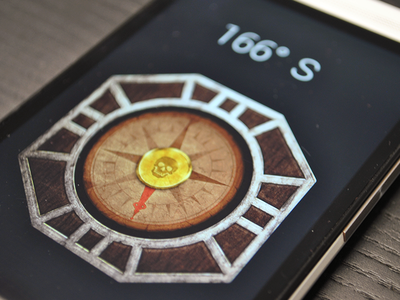 Pirate Compass Skin wood texture shadow phone old compass pirate icon android app