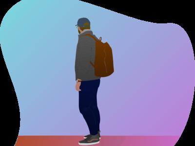 """Partir à l'aventure"" sketch web illustration flat design"
