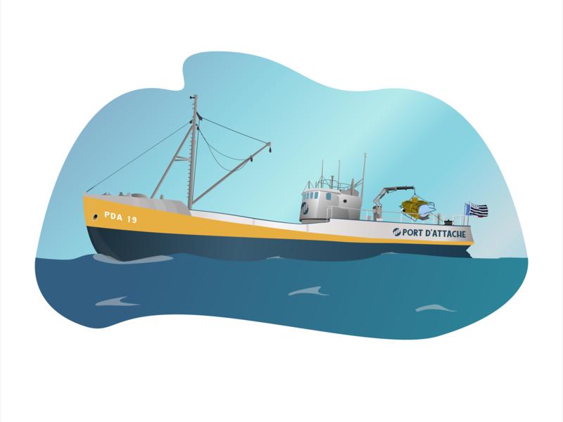 exploration ship vessel ship boat sea illstration sketch web illustration flat design