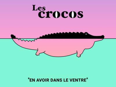Les crocos croco crocodile sketch web illustration flat design