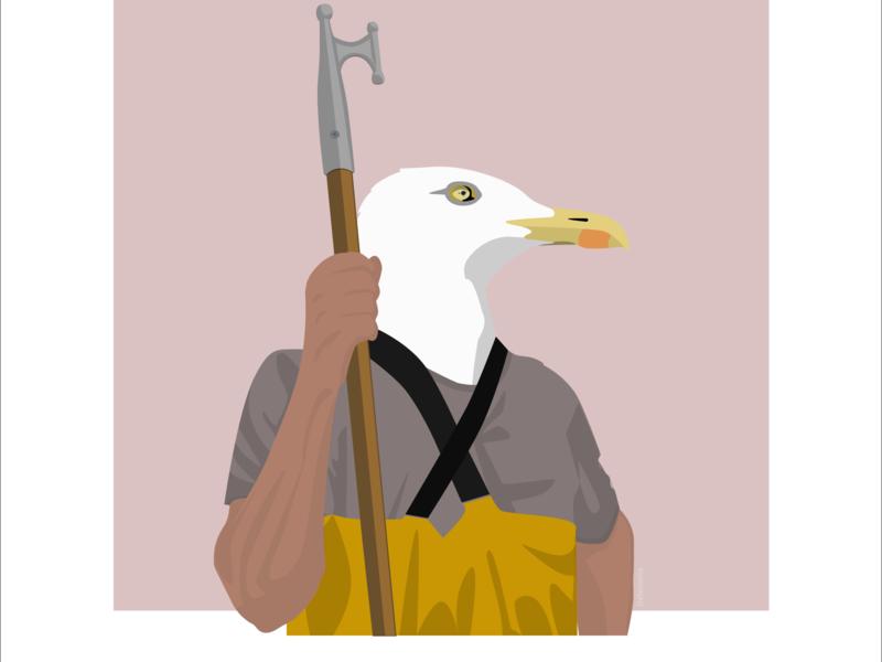 Seagull-fisher fisherman seagull sea boat sketch illustration flat design