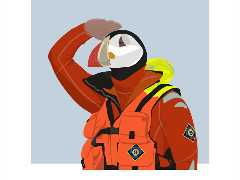 Macareux sea-lifeguard sea-lifeguard lifeguard macareux bird sea boat sketch illustration flat design