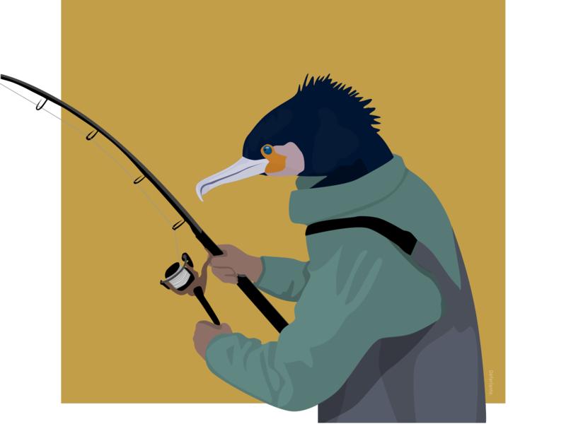 Cormorant-Angler 🎣 angler cormorant vector sea sketch illustration flat design