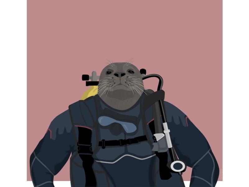 Seal diver plongée diving seal boat sea sketch illustration flat design