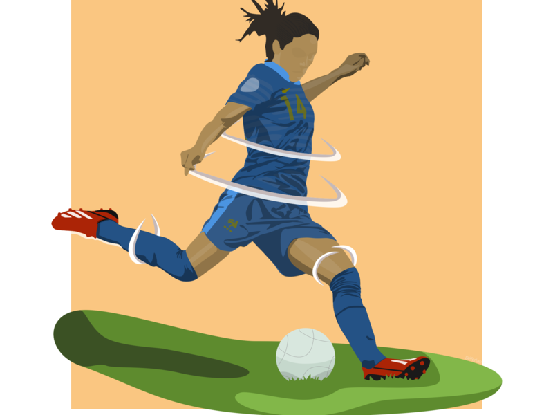 Support women in sport football feminism soccer sketch illustration flat design