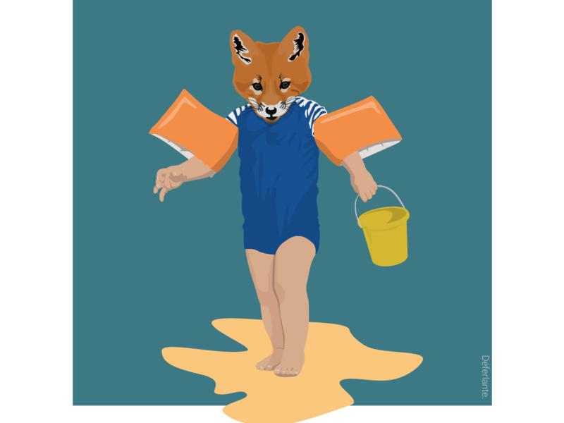 Fox on the beach fox sketch illustration flat design