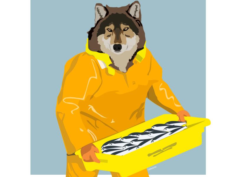 Loup de mer wolf sketch illustration flat design