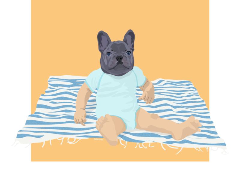Baby Bulldog 🐶 bulldog web sketch illustration flat design