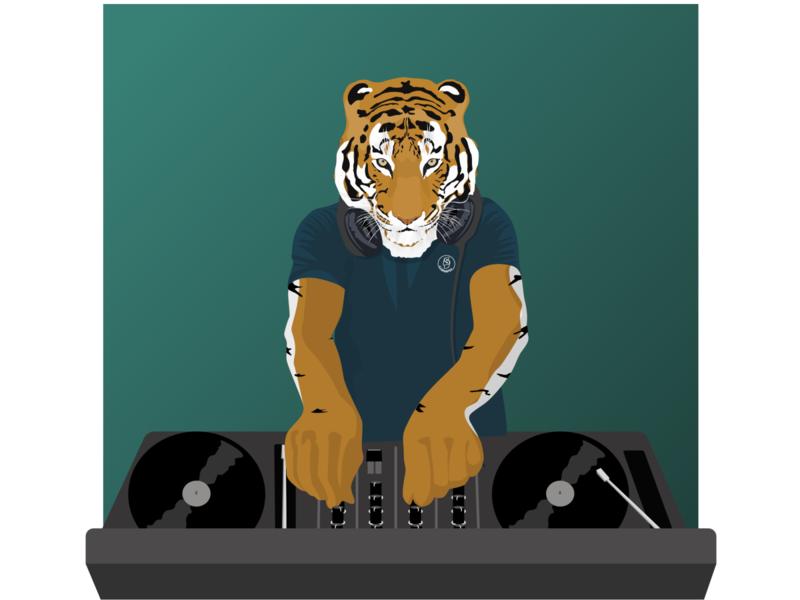 Tiger party dj vector sketch illustration flat design