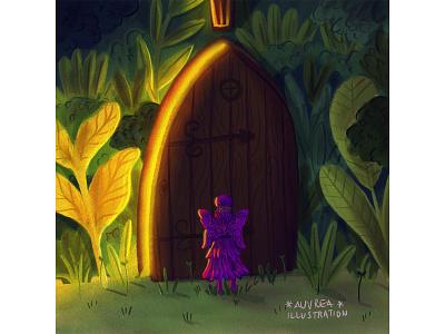 Magical door fantasy art fantasy children book illustration draw artist book illustration children illustration art illustration fairytale fairy door magic