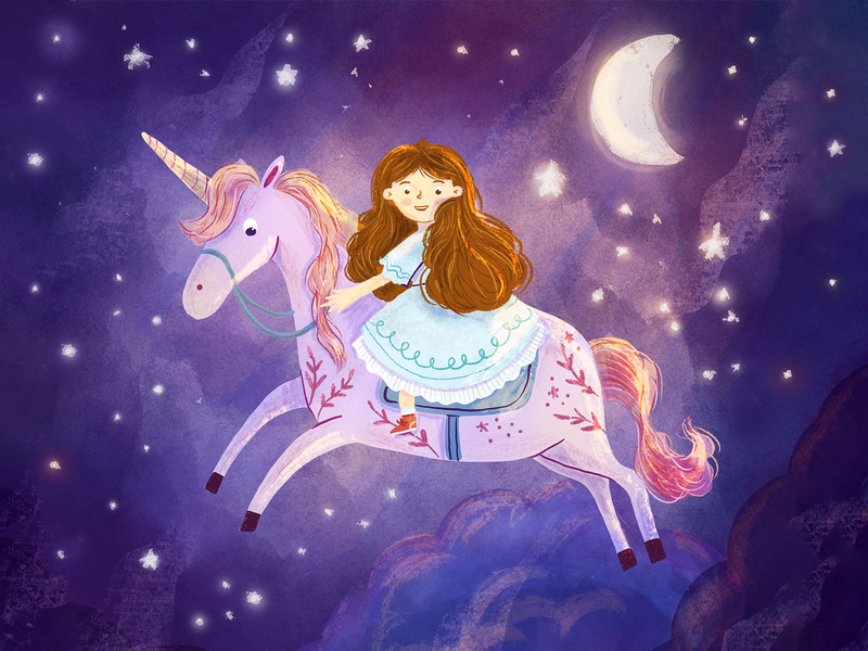 Girl and unicorn book illustration children illustration art illustration fantasy art magical riding enchanted fairytale moon stars sky galaxy girl illustration girl character unicorn