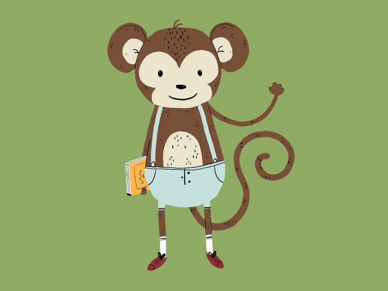 Monkey illustrator beautiful illustration art textbook learning happy study character art animal character artist draw art wave hello school primate ape illustration animal monkey