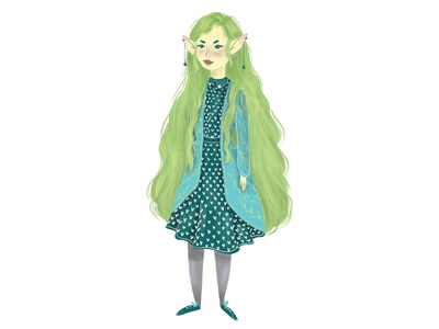 Elf woman pixie character art character desing character concept hair green hair fairy tolkien children illustration children book illustration book illustration art draw illustration human folk art magic woman illustration woman elf