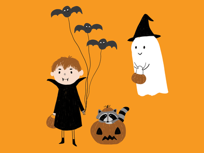 Halloween WIP work in process ghost party party children illustration book illustration children book illustration art draw vampire racoon ghost costume halloween illistration wip work in progress