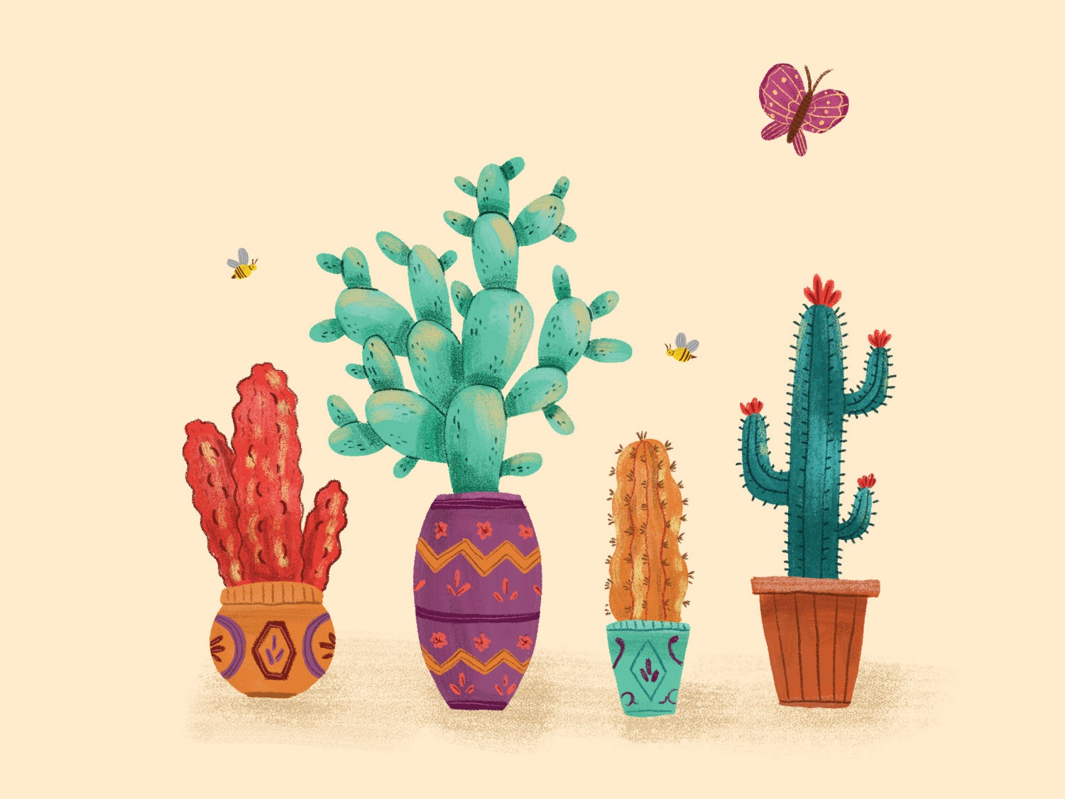 Cactus Love By Bojana Stojanovic Dribbble Dribbble