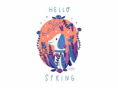 Spring is here editorial art book illustration children illustration art illustration nature flowers dog spring