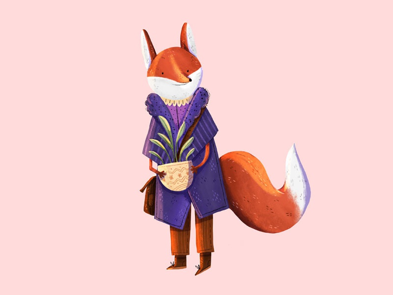Mrs Fox draw design colorful children art children illustration art illistration plant character design charachter animal fox