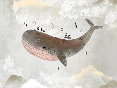 Whale space sea animal children book illustration art children illustration book illustration illustraion procreate app procreate watercolor illustration watercolor whale