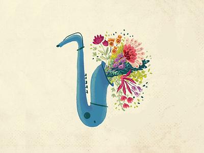 Saxophone with flowers illustrator book illustration children illustration lindy hop swing illustration music vintage botanical illustration flowers saxophone