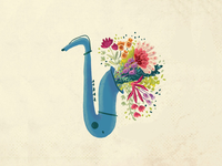 Saxophone with flowers