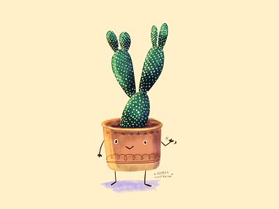Plant friend hello illustration botanical illustration autumn summer cactus plant