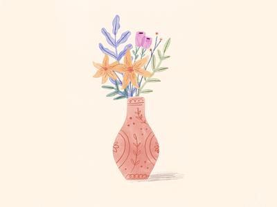 Vase with plants decor flowers botanical drawing illustration plants vase