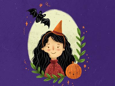 Happy Halloween artist art children art children illustration book illustration portrait illustration portrait witch october bat pumpkin illustration halloween design halloween