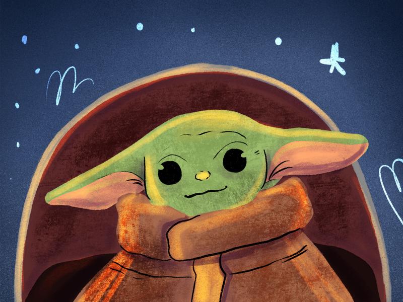 Baby Yoda art illustration star wars mandalorian starwars baby yoda yoda