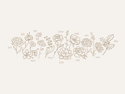 Custom Birth Flower Illustration minimal icons marketing campaign marketing small business vector branding product design florals hand drawn illustration illustrator