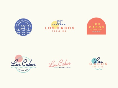 Los Cabos Pools logo minimal icons line design marketing line art small business vector icon branding rebrand
