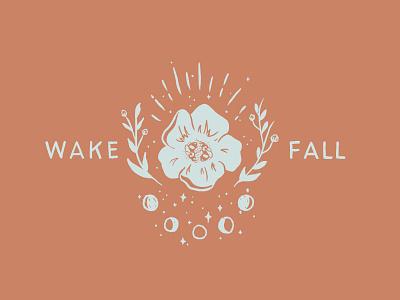 Wakefall typography vector brand identity branding design icons marketing small business logo minimal illustraion icon branding