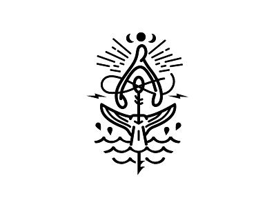 Old Man And The Sea illustration sea book wishbone branding line design logo tattoo