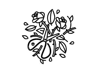 Fresh Cut Roses tattoo emblem lettering small business logo icon branding