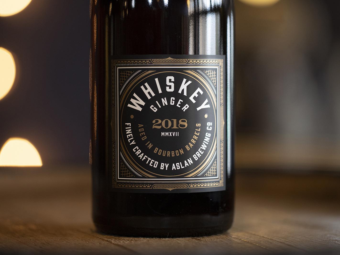 Whiskey Ginger bottle label beer art barrel aged bellingham craft beer