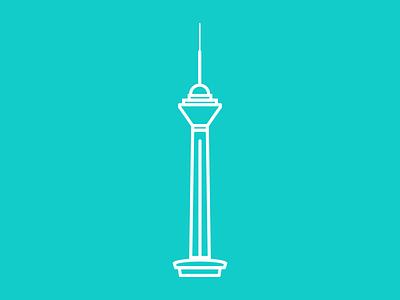 Milad Tower Icon line illustration iran tehran icon tower milad