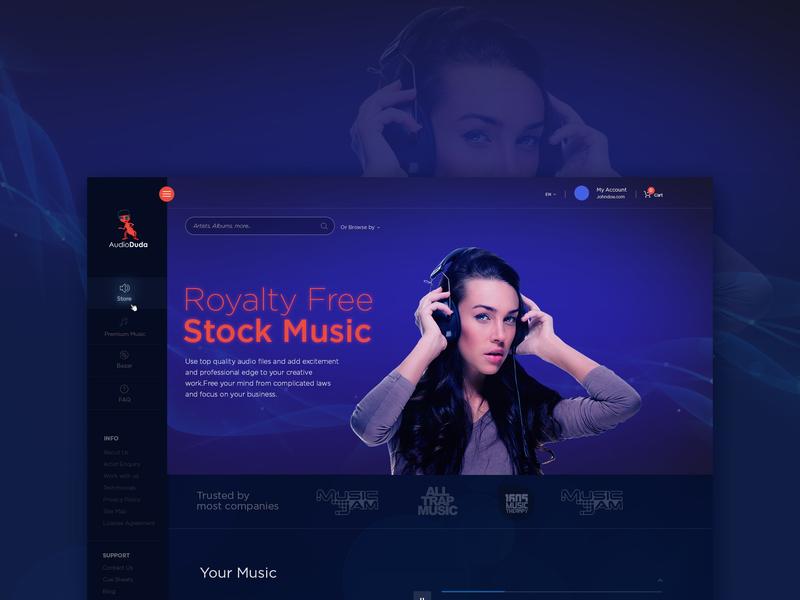 Audio Dua - Home Page vivekwebsitedesign flat website web ux typography ui simple illustrator design creative branding music app music royalty free