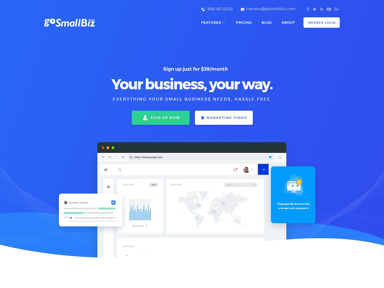 Go Small Biz webdesign website builder business creative ui idealwebdesign illustration vivekwebsitedesign gosmallbiz
