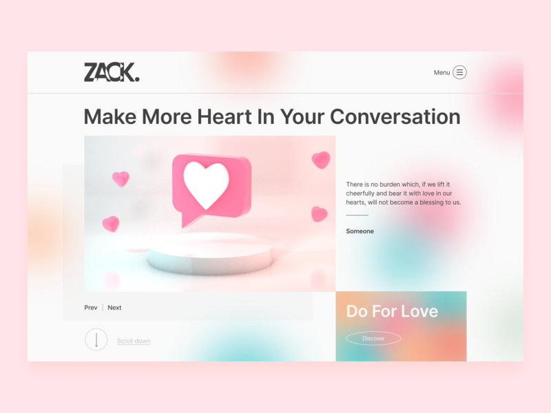 Make More Heart minimal design c4d 3d website web ui love lovers lovely blurred background blur discover explore layoutdesign layout