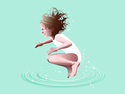 Jumping in water illustrator vector ilustration