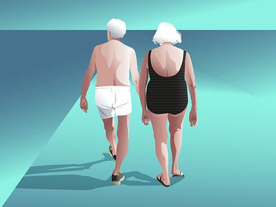 SUNSET WALK vector ilustration