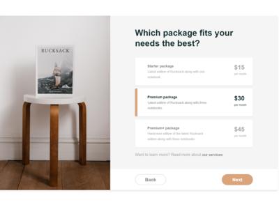 Rucksack - Pricing table web branding design pricing table pricing plan pricing ux ui