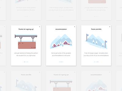 Ski App - Onboarding / Pop-up design icon vector onboarding pop-ups dailyui adobe experience design branding ux ui illustration