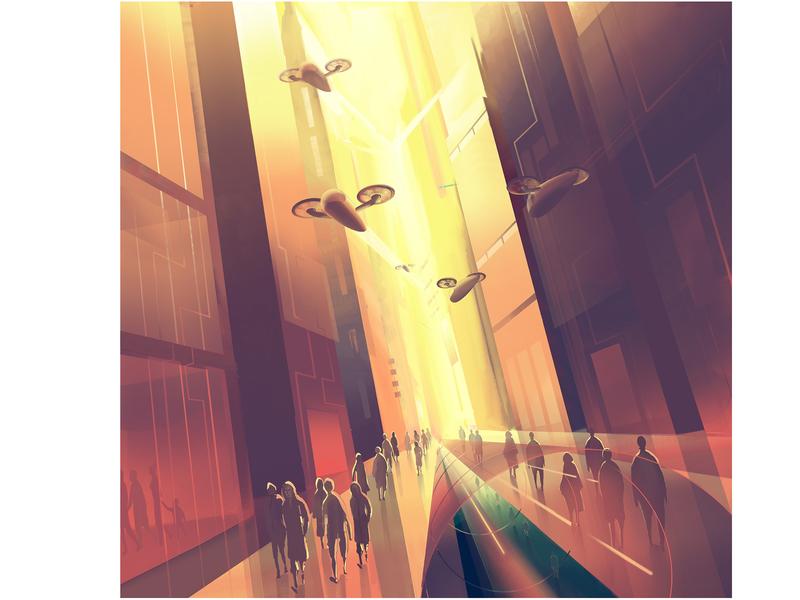 Simulacrum vehicle city boudilard future digitalart art illustration gradient design