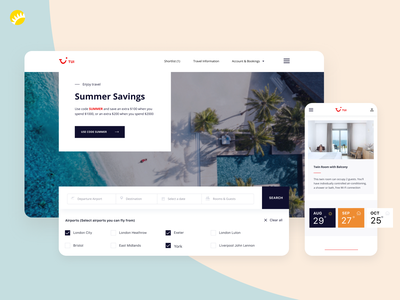 TUI - Website concept clean website concept tui search bar search engine travelling travel agency organizing trip planner travel travel app platform design homepage design design app app app design website design ux ui design