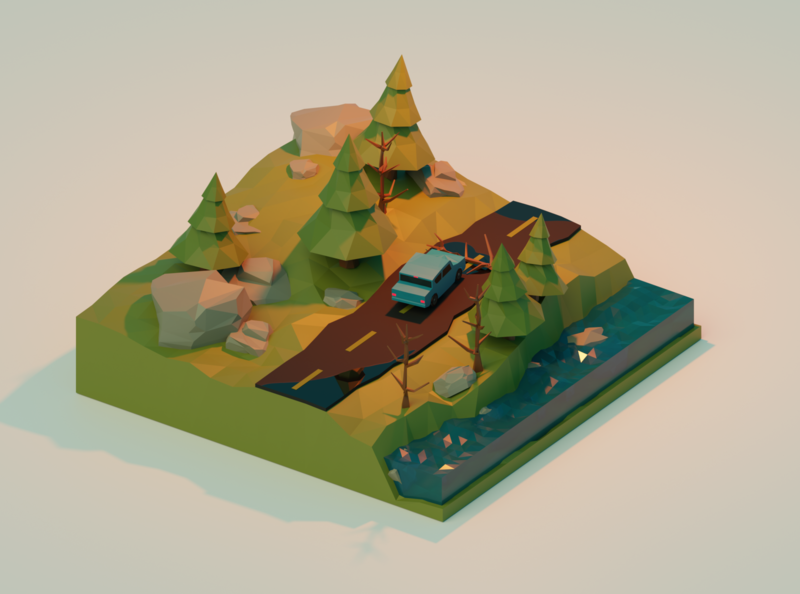 Forrest Road Accident low poly 3d illustration