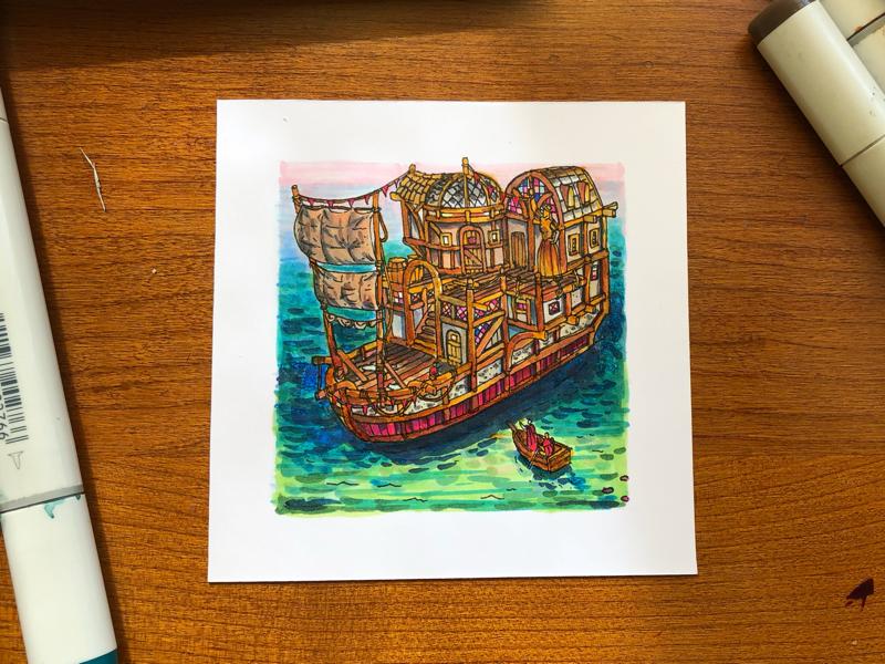 House boat jkcrosbyfun sea boat copic markers art design illustration copic